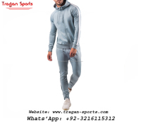 Street wear custom velour mens plain tracksuits gym slim fit tracksuit