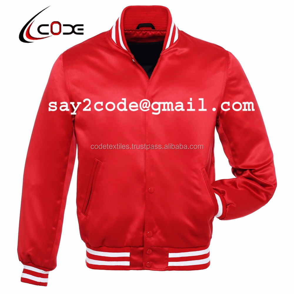 New Red color satin plain men silk bomber jacket baseball jacket