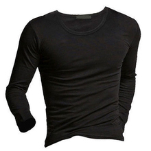 Men's Casual Cotton Tops Blouse Slim Long Sleeve T-Shirt