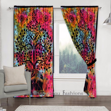 Indian Tie Dye Elephant Tapestry Boho Curtains Window Curtain Window Treatment Panels Set Twin Size Window Cover Decorative