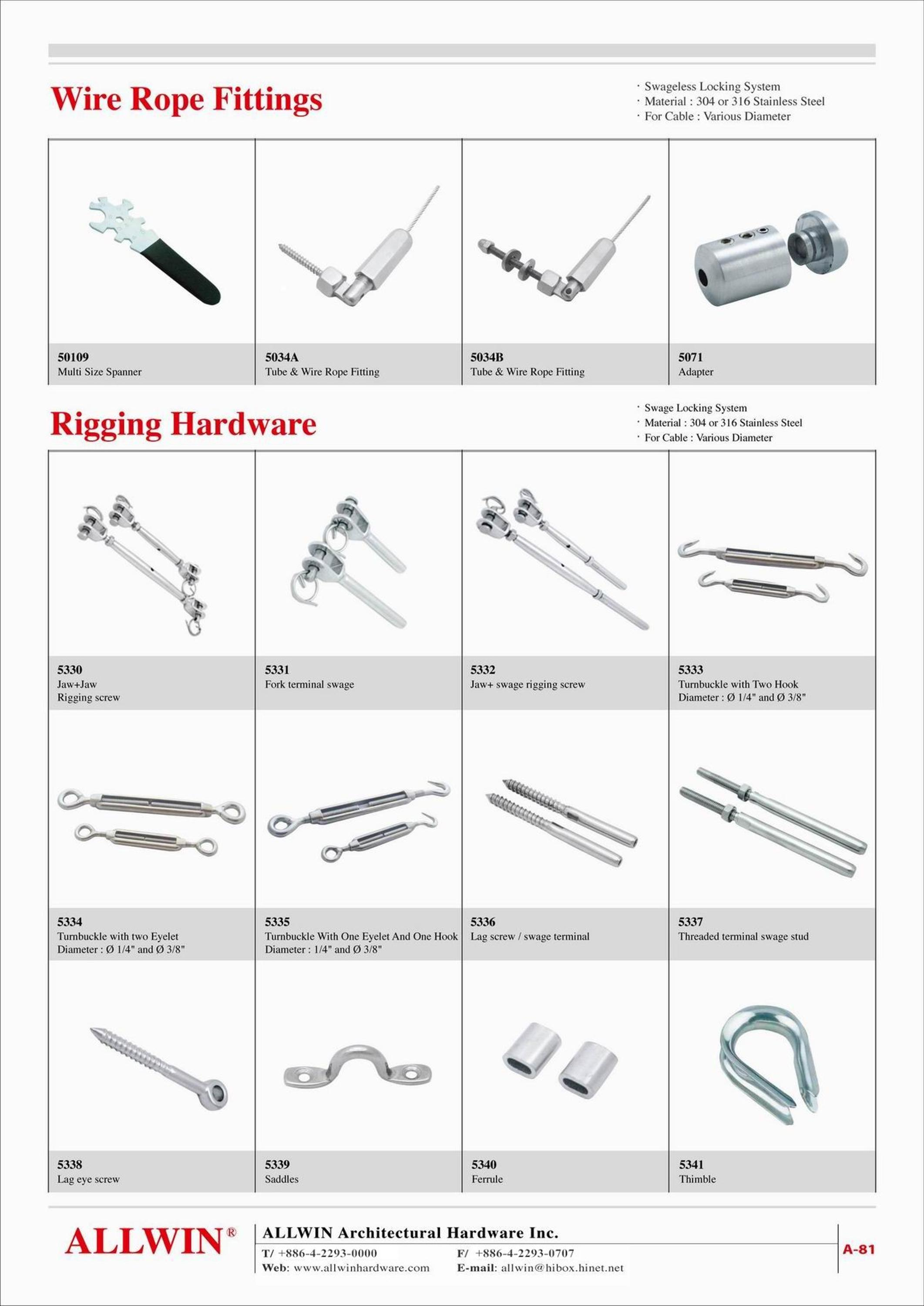 Stainless Steel Threaded End Terminal Rigging Swageless Wire Rope ...