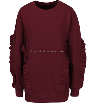 Export Quality Soft-touch Fleece Pullover Sweatshirt with Side Fabric Design For Women 2018