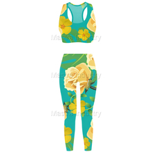 Glow Flow Custom Customized Sublimated / Sublimation Yoga Sports Bra Leggings Tights Set Kit Leggy