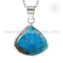 Prominent arizona turquoise gemstone silver pendant 925 sterling silver pendant jewelry jaipur wholesale jewellery