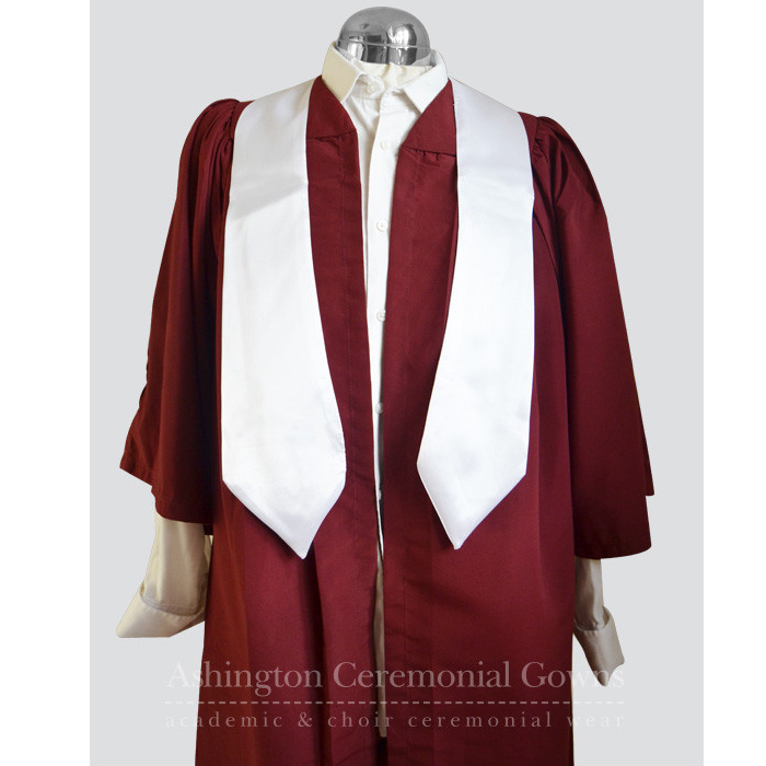 Multibuy: 10 Claret Choir Robes with White Satin Stoles