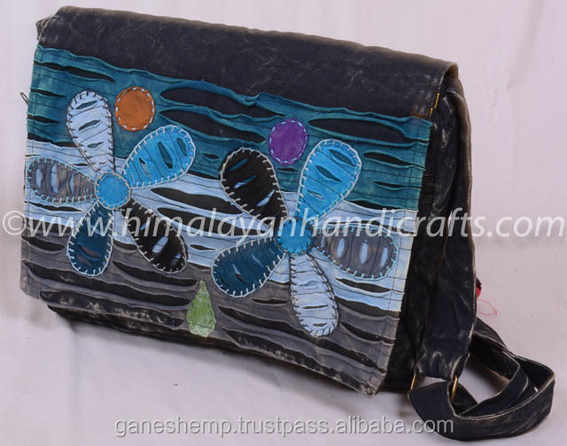 Razor cut Flower Artwork Crossbody Flap over Purse with Adjustable Shoulder Strap RSMB-0508-A
