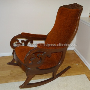 Antique Hand Carved Wooden Rocking Chair ~ Designer Garden Chair ~ Glider Leisure Chair