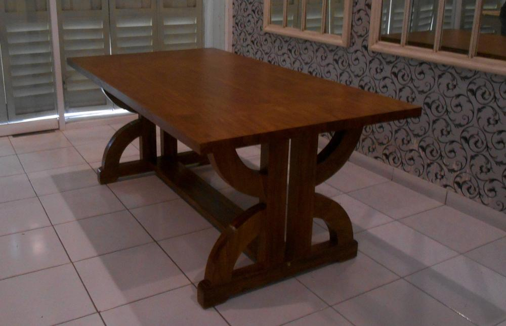 Dining Room Furniture - Teak Dining Set Linen Classic Design Indoor Furniture
