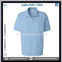 Blue Color Fashion Design Casual Ladies Short Sleeve Polo T shirts with Buttons