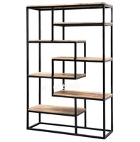 industrial and vintage modern iron and wood bookcase/bookshelf