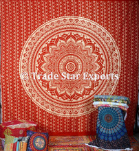 Cotton glitter fabric printed wholesale tapestries mandala wall hanging indian gold tapestry