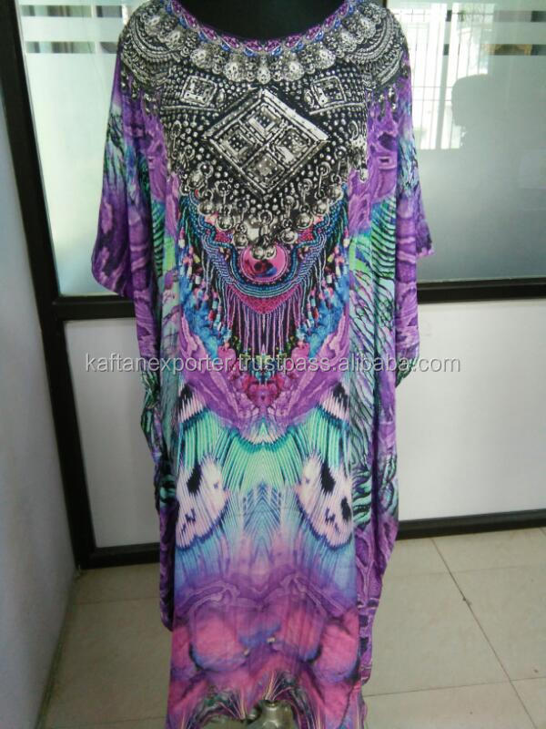Women Dress Camilla style Georgette short digital printed embellished kaftan
