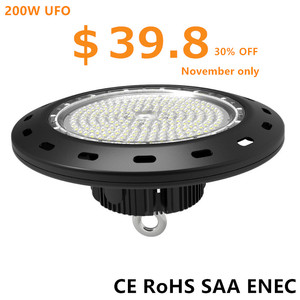 Die-casting aluminum UFO housing dimmable led high bay light 200w ufo led high bay light