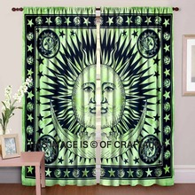 Indian Astro Sun Moon Window Treatment Boho Celestial Window Curtains Printed Door Cover