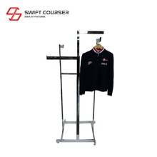 Clothing trade show floor tube standing display