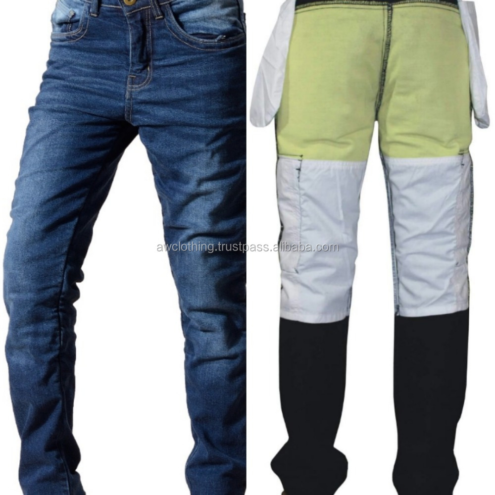 Motorcycle Riding Jeans Pants With Kevlar Lining On Impact Areas For Motorcycle Sports
