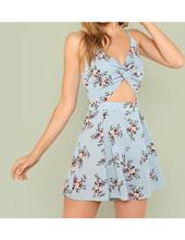Twist front boxed pleated floral cami romper