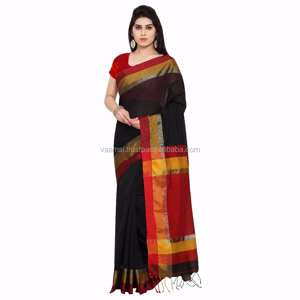 2017 New Design Black And Red Color Cotton Silk Plain Jacquard Women Saree