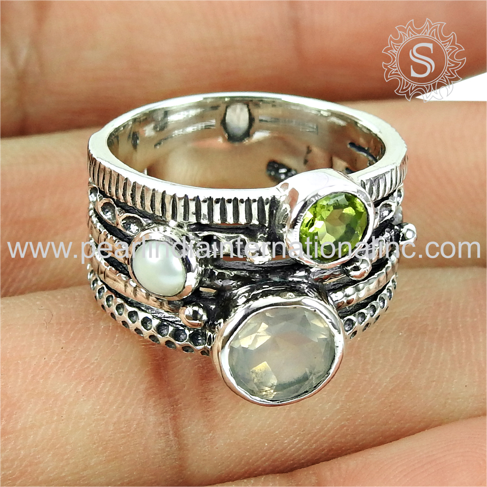 Rose quartz pearl peridot silver jewelry wholesale rings handmade 925 sterling silver rings jewellery exporters