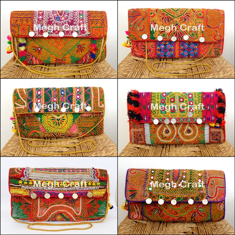 Afghan vintage gypsy Clutch - boho tribal coins bag - embroidery rabari banjara bag - kuchi Work HandBags