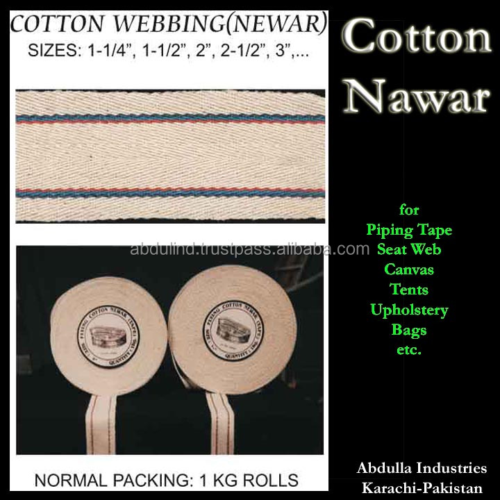 Furniture Webbing (Niwar Tape) Cotton Nawar for Piping Tape Seat Web Canvas Tents Upholstery Bags