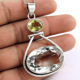 Lemon Topaz Crystal Pendant 2017 Wholesale Indian Silver Jewelry 925 Sterling Silver Pendant Supplier