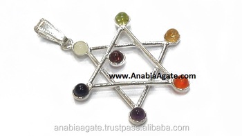 Chakra Pentagram Metal Pendant : Wholesale Metal Pendant