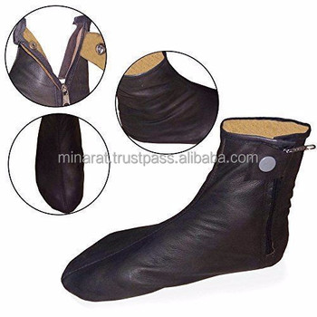 Black Leather Socks Genuine Size Islamic Muslim Pray Shoes Kuffain Unisex