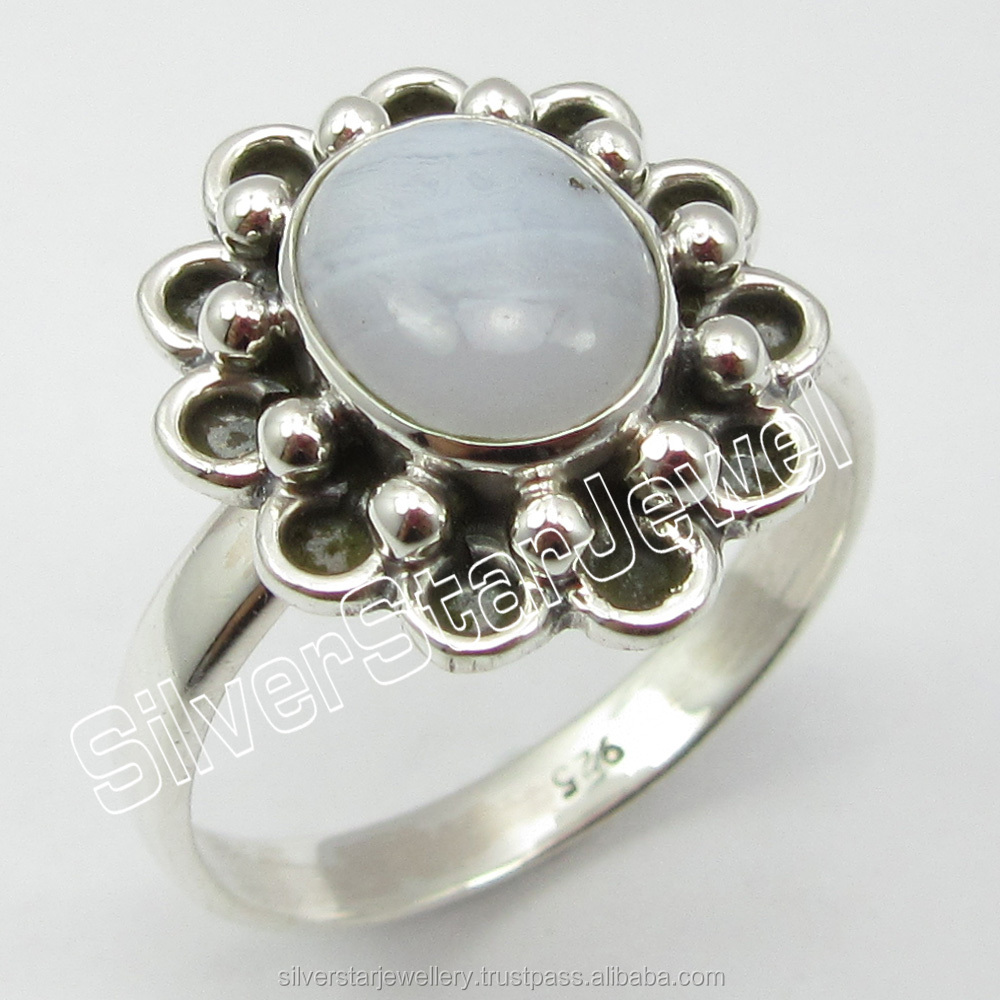 New Style Cheap Price Jewellery Reseller 925 STERLING SILVER Original BLUE LACE AGATE Rings Size 8 From SilverStarJewel