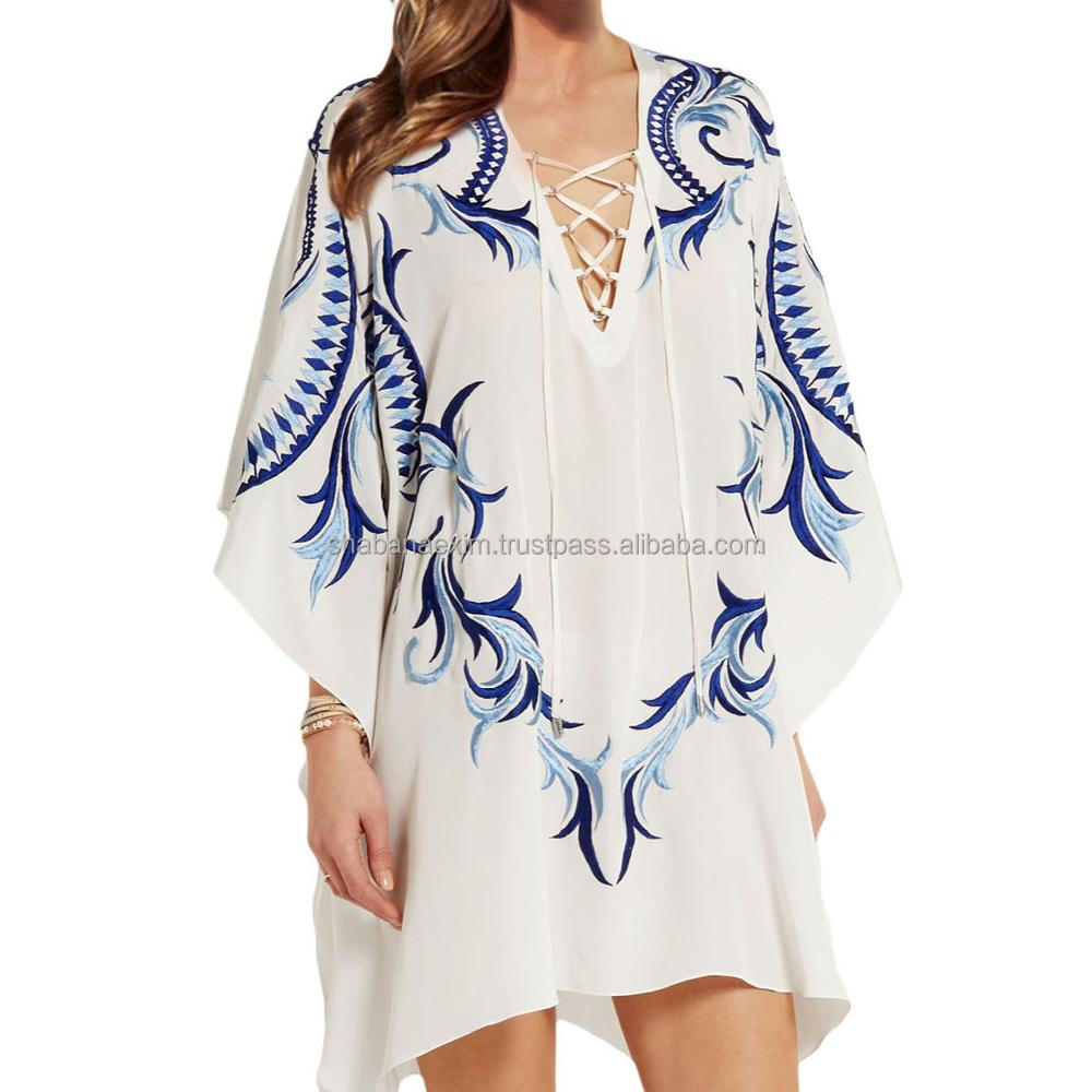 Embroidered tunics ladies summer wear tops cotton beach dress Wholesale