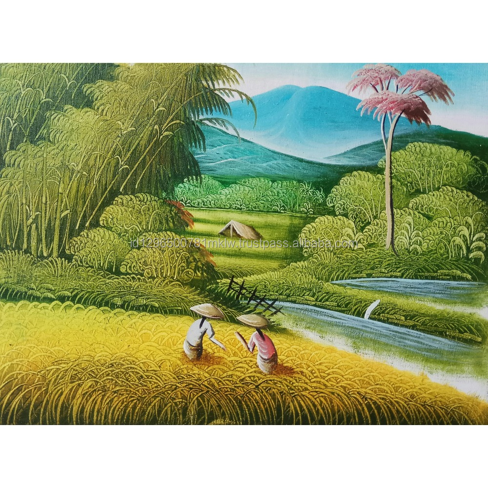 Wholesale Price Wall Art Home Decoration Rice Field Harvest Oil Painting On Canvas