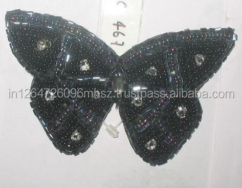 Black Seed Bead Embroidery Butterfly Brooch