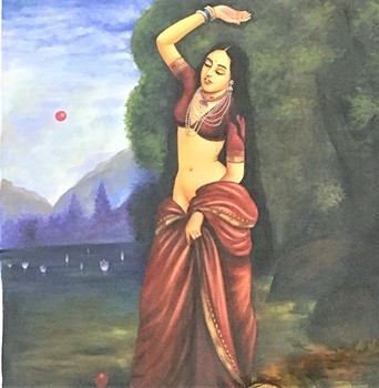 Handmade Original Oil Painting on Canvas portrait Indian Lady Fine Artwork