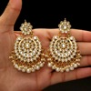 Festive Special White Color Imitation Pearl Kundan Earrings For Women