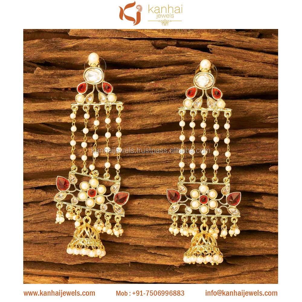 Latest Handmade Jhumki in Wholesale with small beaded pearl 8375