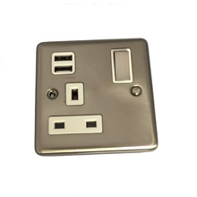 Sinoe Y766 BS Certified 13A 1 Gang Switched Wall Socket with 2.1A USB Outlets (12 Years Guarantee)