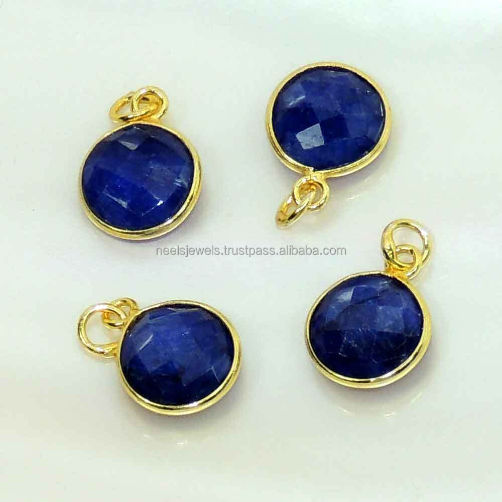 10 mm blue sapphire dyed sterling silver coin charms
