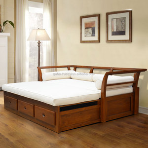 Daybed sofa INDOOR with 3 drawers natural Grade A teak wood furniture