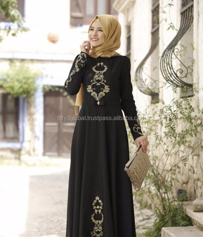 2017 new stylish arabic fancy black With Golden Hand Work abaya women