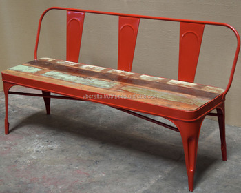 Industrial Urban Loft Bench Red Color Reclaimed Wood Seat