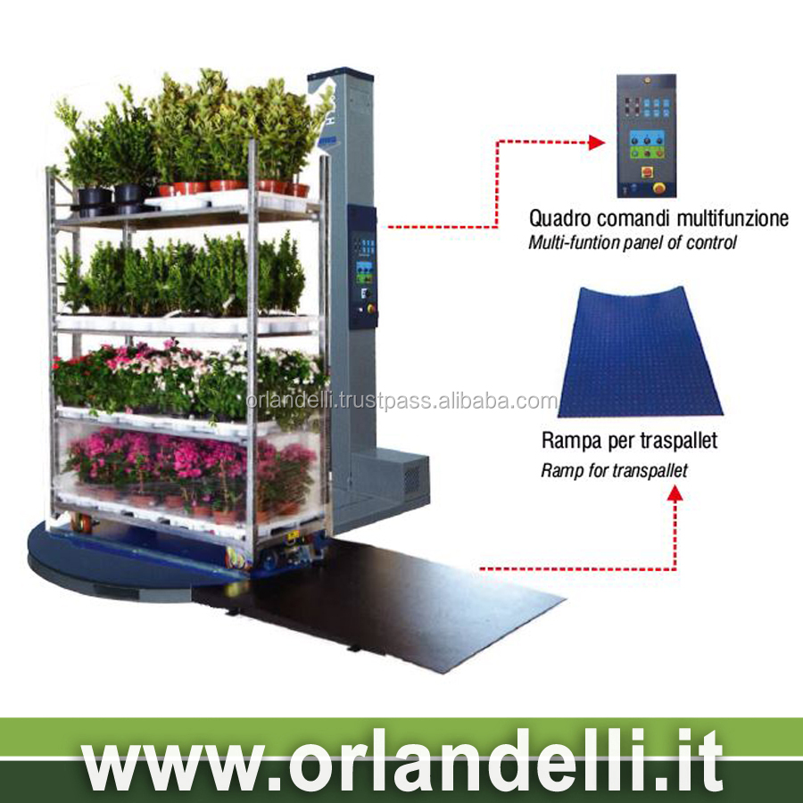 Automatic wrapping machine for greenhouse and nurseries operators floricoltural danish container trolley
