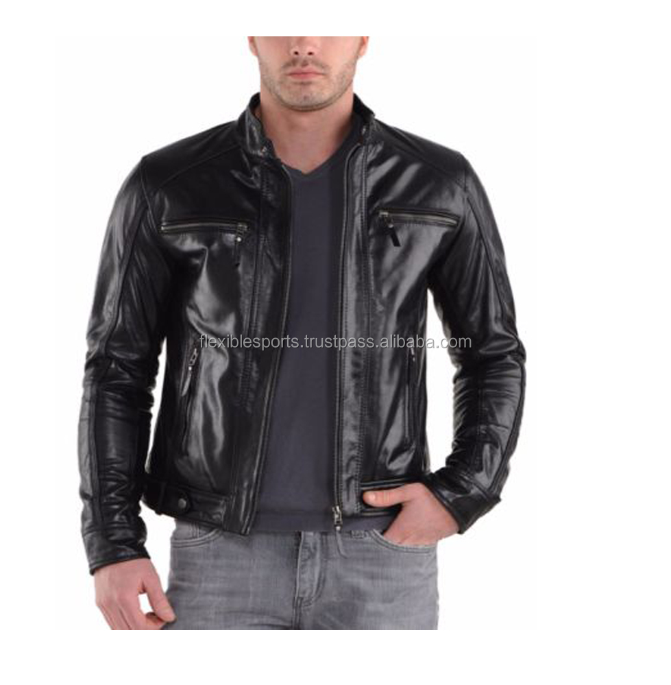 New Arrival Pure Leather Jacket BLACK Slim Fit Genuine COW HIDE Biker Motorcycle Exclusive offer