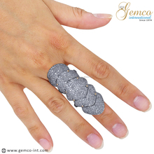 Pave Diamond Knuckle Ring, Natural Diamond Full Finger Armor Ring Jewelry