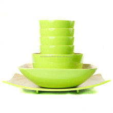 Best selling spun bamboo dinnerwares / lime salad bowl and plate set