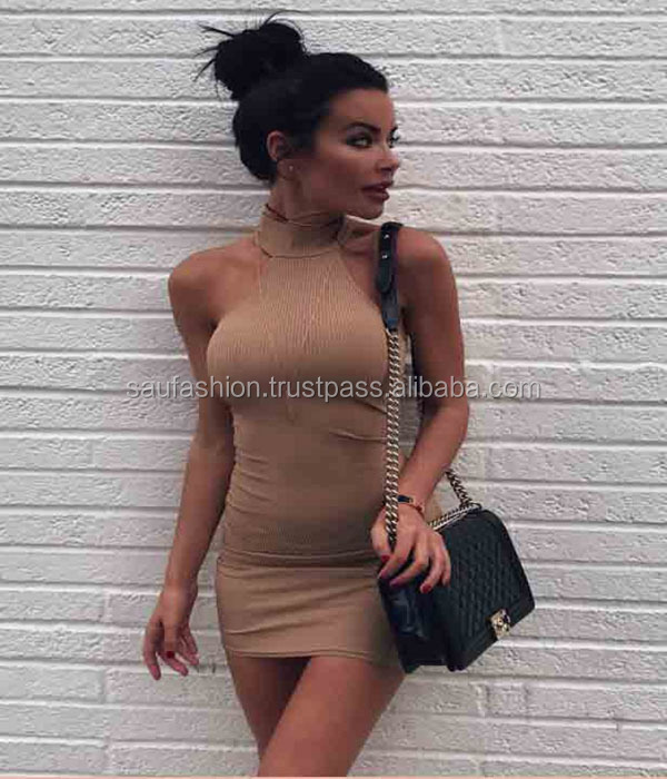 Richie Camel Ribbed Mini Dress