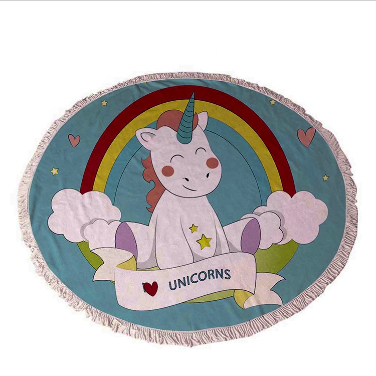Customized Logo Cartoon Personilized Microfiber Unicorn Round Beach <strong>Towel</strong>