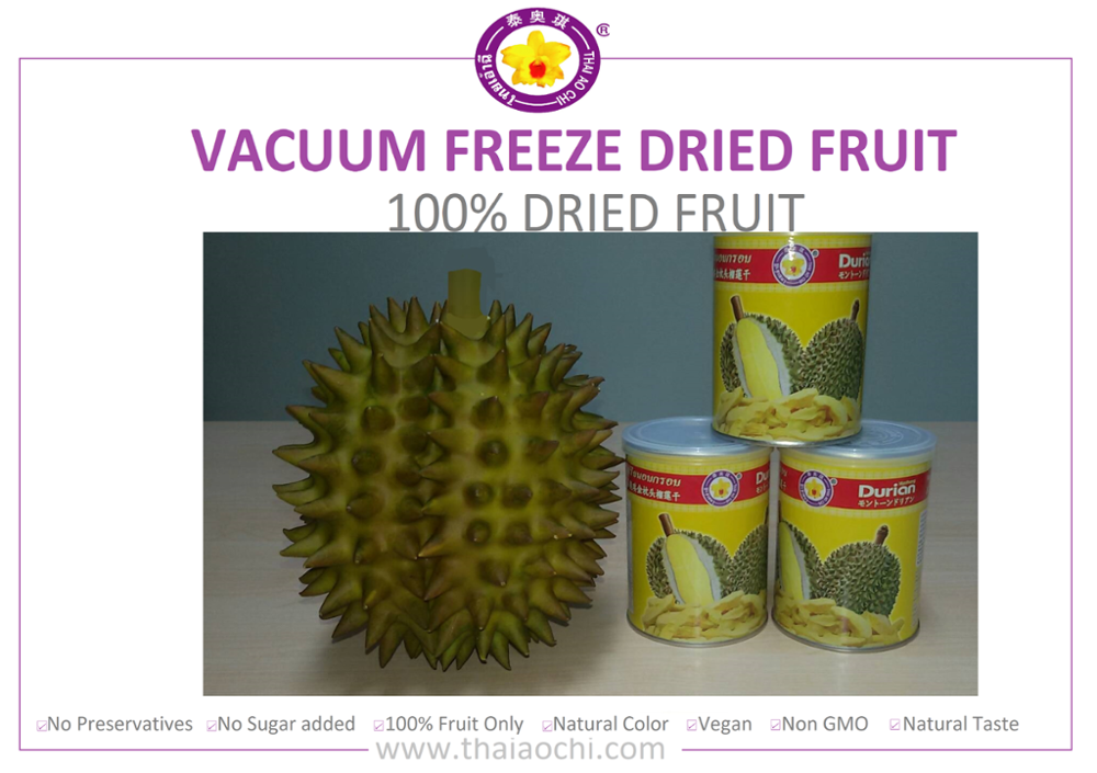 Best Selling Dried Fruit : Vacuum Freeze Dried Durian in Tin Can ( 50 grams ) [ Thai Ao Chi Fruits ] : Dried fruit durian 100%
