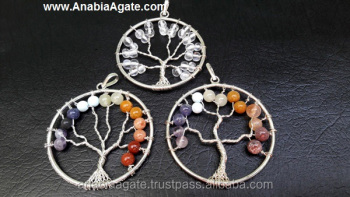 Chakra Tree Of Life Metal Pendant
