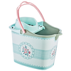 Plastic cleaning bucket very good design with plastic handle with its squeezer and 4 wheels under