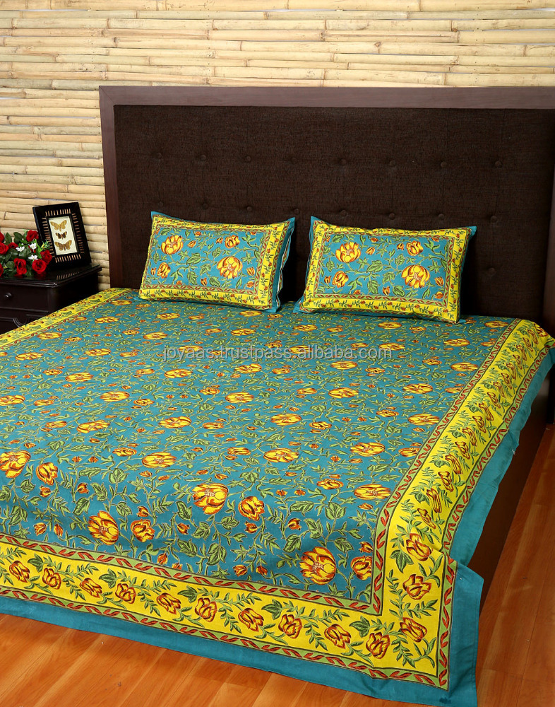 Hot Selling Bedding Set Pine Green & Pear Yellow Cotton Printed Bed Sheet